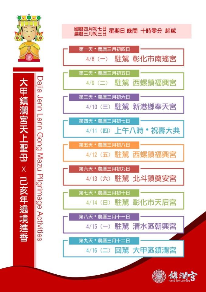 2019大甲媽祖遶境詳細日程表(圖/鎮瀾宮)